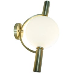 "Modern Blown Glass and Brushed Brass ""Ballon"" Sconce and Flush Mount by Feyz"