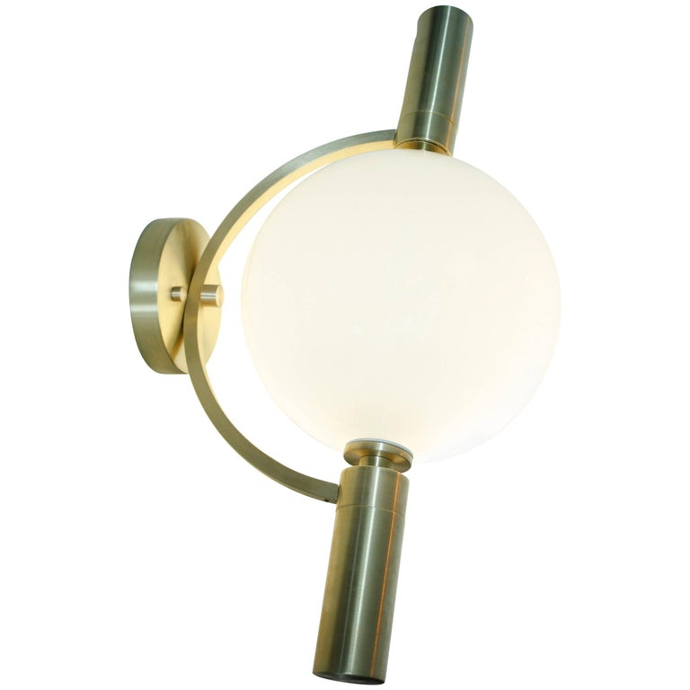 """Modern Blown Glass and Brushed Brass """"Ballon"""" Sconce and Flush Mount by Feyz"""
