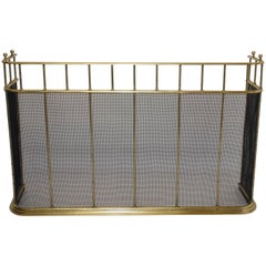 Large Brass Fireplace Screen with Repose Supports, England 19th Century