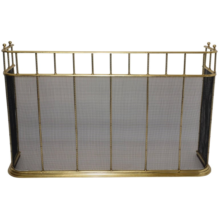 Large Brass Fireplace Screen with Repose Supports, England 19th Century For Sale