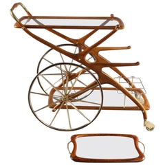 Mid-20th Italian Trolley Bar Cart by Cesare Lacca, Italy, 1950