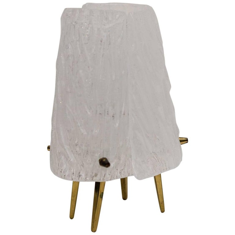 Viennese Kalmar Brass and Frosted Glass Table Lamp, 1950s