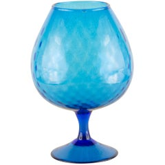 Vintage Empoli Style Blue Stemmed Glass