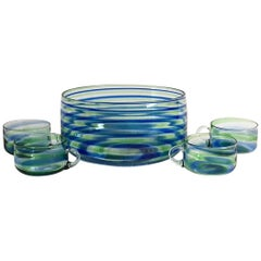 Midcentury Artisanal Glass Swirl Punch Bowl Set, Service for Four