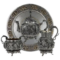 Antique 20th Century Burmese Solid Silver Sculptural Tea Set on Tray, circa 1900