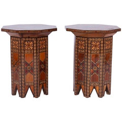 Exotic Pair of Syrian Mother-of-Pearl Inlaid Tables or Stands