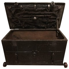 Exclusive 16th Century Strong Box Spanish with Original Wheels and Key  11 slots