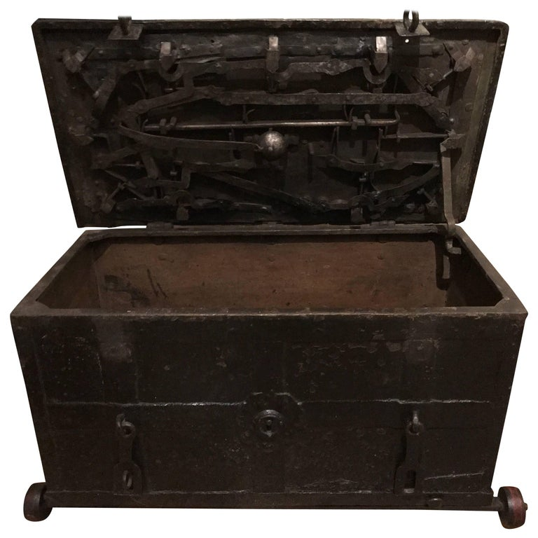 Exclusive 16th Century Strong Box Spanish with Original Wheels and Key  11 slots For Sale