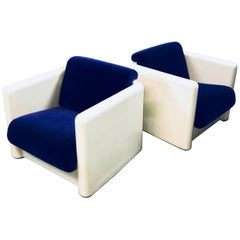 Modernist White Molded Fiberlgass Velvet Upholstered Cube Club Chairs