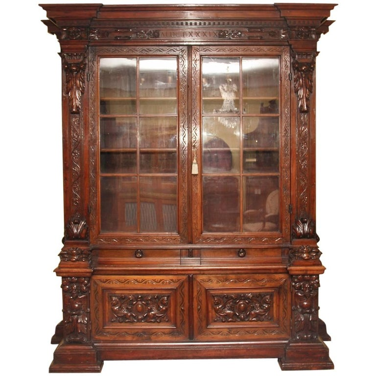 19th Century Walnut Bookcase or Cabinet