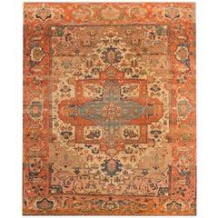 19th Century Beige/Ivory Geometric Serapi Carpet
