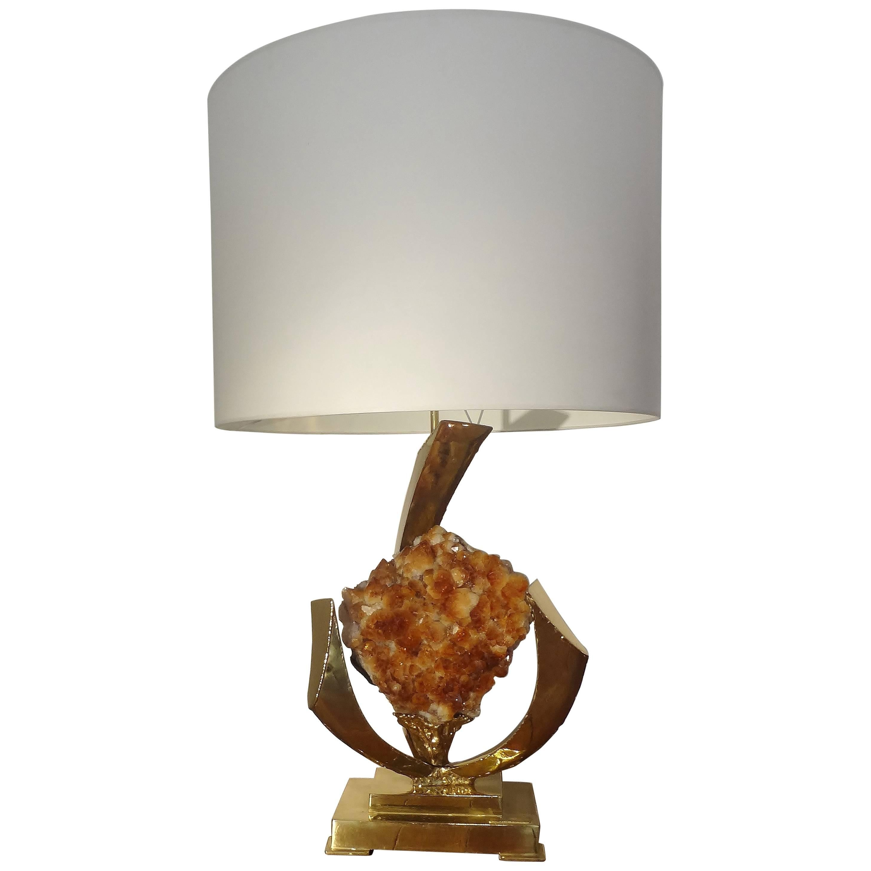 Sculpted Table Lamp with a Rock Crystal Geode, 1970s by J. Duval-Brasseur