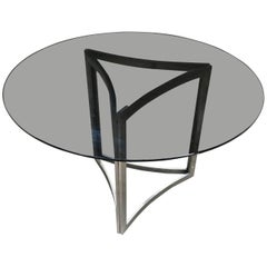 Dining or Centre Chrome Table with Smoked Glass Top, Italy, 1970s