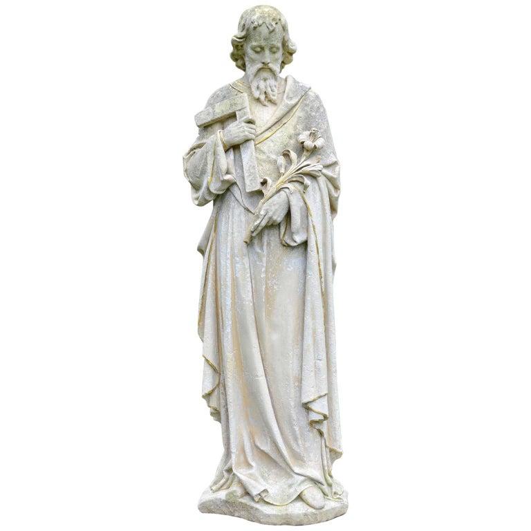 English Limestone Statue of St. Joseph