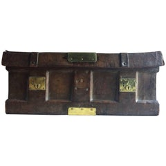 Antique Trunk Stagecoach Strong Box United States Leather 19th Century Rare