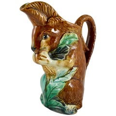19th Century French Faïence Barbotine Orchies L'écureuil Squirrel, Nut Pitcher