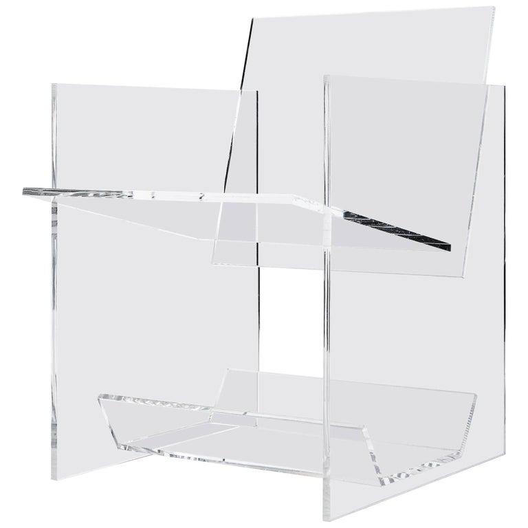 Modern Transparent Acrylic Armchair with Multi-Purpose Sub-Seat Terrarium  For Sale