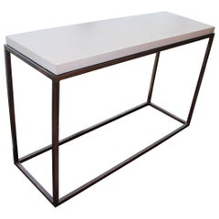 Minimalist Console Steel Table with Limestone Top