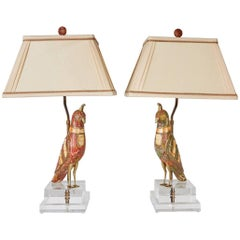 Pair of Brass and Dyed Bone Inlaid Bird Figures Now Mounted as Lamps