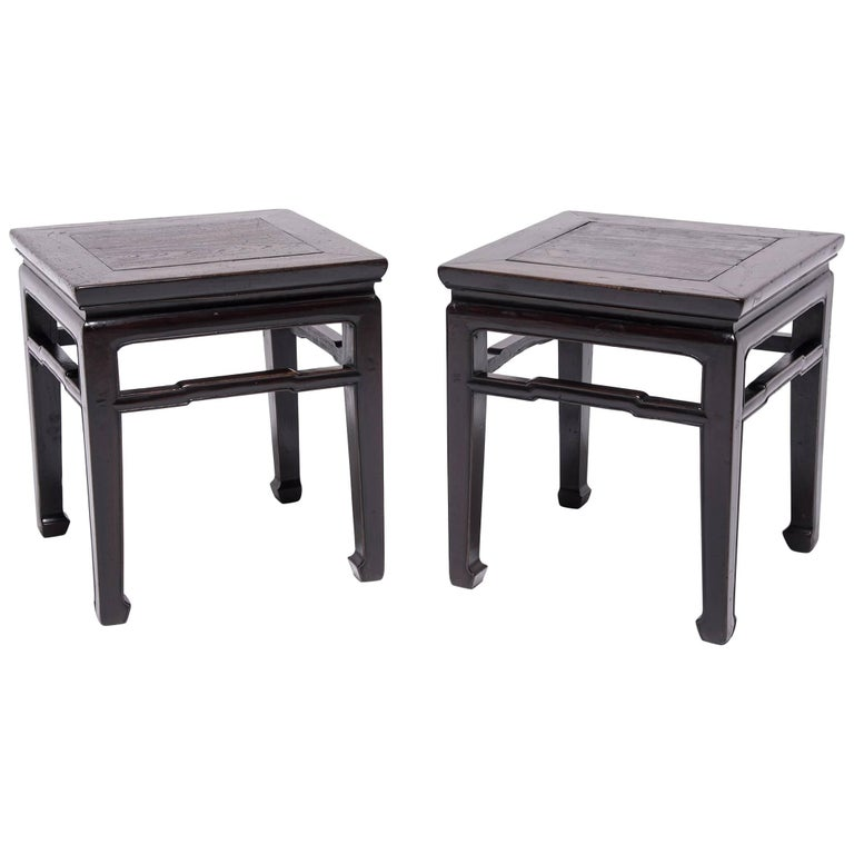 Pair of Chinese Humpback Stretcher Side Tables