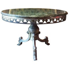 Stunning Antique Style Coffee Table Occasional French Marble Brass Circular