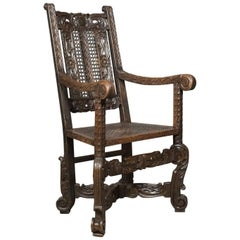 Antique Armchair, Victorian Carved Side, Hall Chair, English, Oak, circa 1880