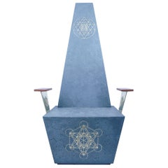 Concrete Throne Chair with Geometric Brass Inlays and Mahogany Armrests