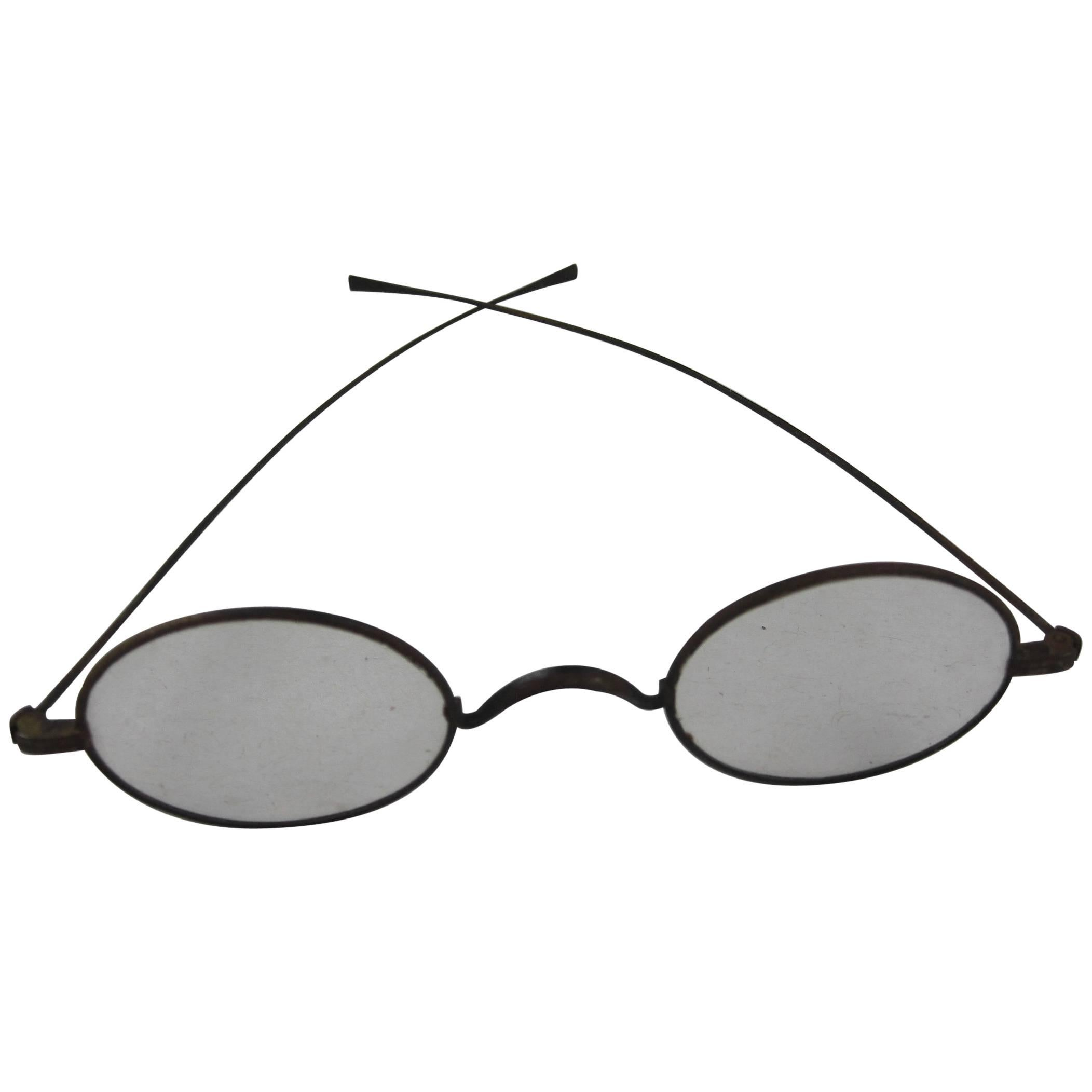 Historical American Civil War Era Wire Frame Magnifying Eye Glass Spectacles