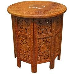 Round Teak Tabouret Moroccan Side or Drink Table