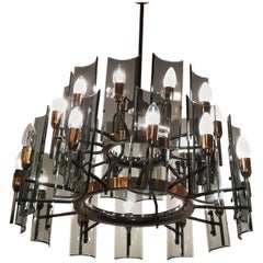 Twenty-Four-Light Chandelier, 1955, Brass and Crystal