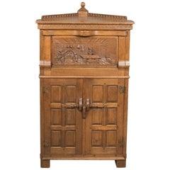 Midcentury Carved Oak Corner Cupboard, Cabinet with Gothic Overtones