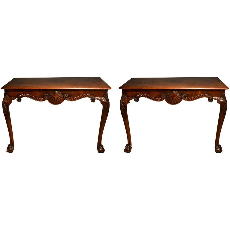 18th Century Pair of Mahogany Console Tables