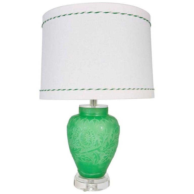 Steuben Green Acid Cut Back Vase Newly Custom Mounted as a Lamp