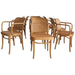 "Midcentury Josef Hoffmann ""Prague"" 811 Cane and Bentwood Chairs Set of 10"