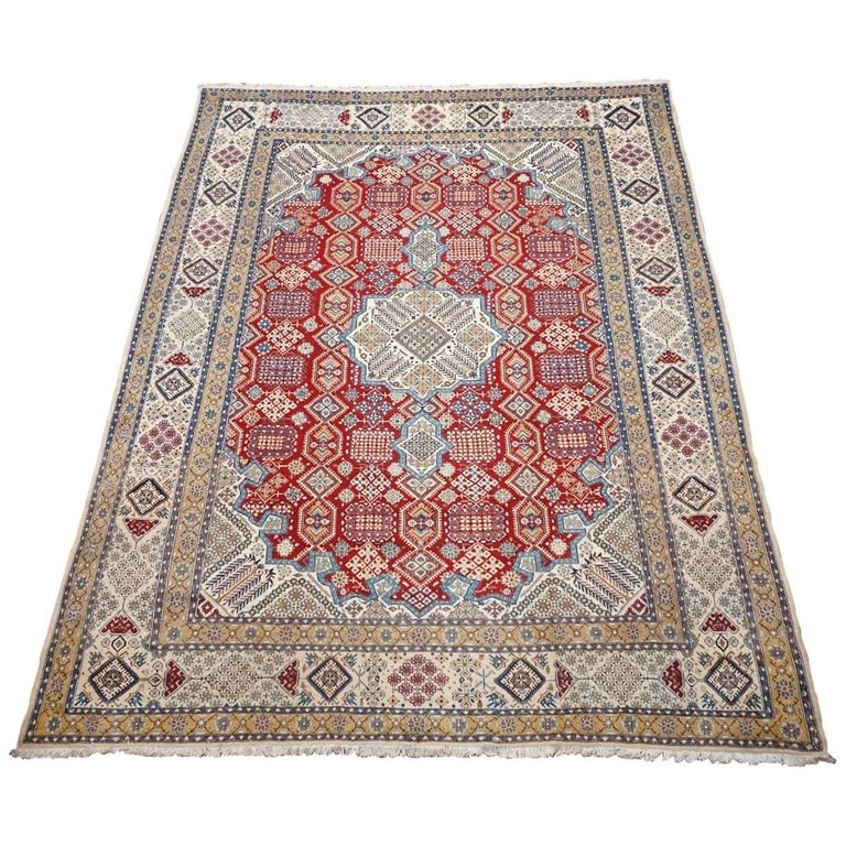 Ivory Wool And Silk Persian Naein Area Rug For Sale At 1stdibs: Red Wool And Silk Persian Naein Area Rug For Sale At 1stdibs