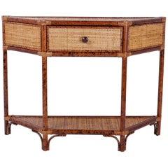 Small Midcentury One Drawer Grasscloth Console Table