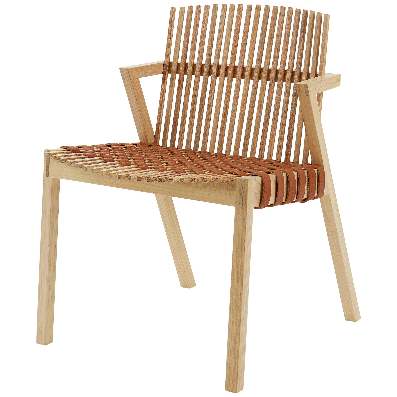 Ergonomic Armchair in Tropical Brazilian Hardwood, Contemporary Style