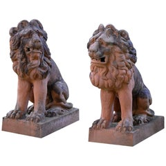 French Terra Cotta Lions