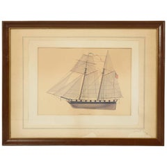 Print of a Sailing Ship from the Glenview Naval Air Station