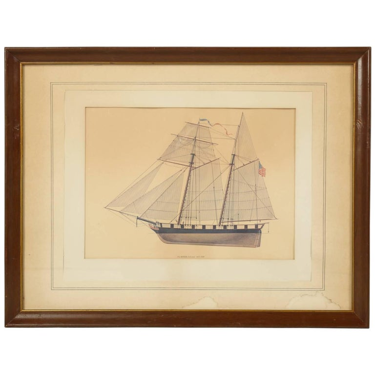 Print of a Sailing Ship from the Glenview Naval Air Station For Sale