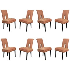 Set of Eight Keyhole Dining Chairs in the Style of James Mont