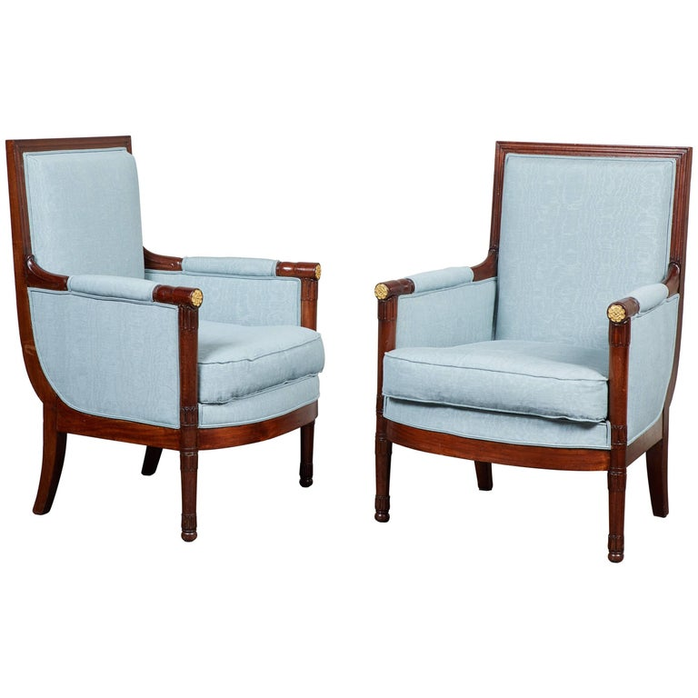 Pair of Early 19th Century Empire Mahogany Bergeres Armchairs