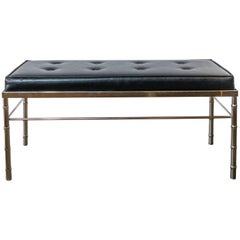 Faux Bamboo, Chrome and Black Tufted Leather Bench