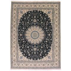 Blue Wool and Silk Persian Naein Rug, 650 KPSI
