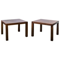 Pair of Lane Walnut Parson Tables with Four Square Inlay Top