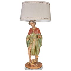 Large Antique Santos of St. Roche, Patron Saint of Dogs, Now Mounted as a Lamp