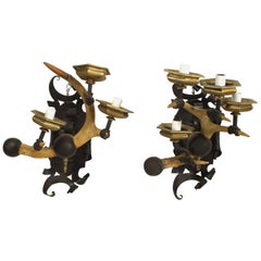 Pair of Rustic Horn Iron and Brass Wall Sconces