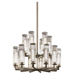 Delano Chandelier by Smania, Contemporary Brushed Bronzed Steel Chandelier
