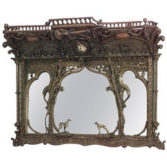 Rustic Continental 19th Century Carved Oak Horizontal Three-Section Wall Mirror