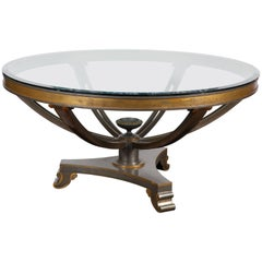 Mid-20th Century Neoclassical Style Bronze Table with Glass Top